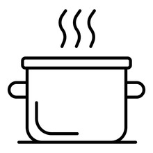 Boiling Water Pot Icon. Outline Boiling Water Pot Vector Icon For Web Design Isolated On White Background