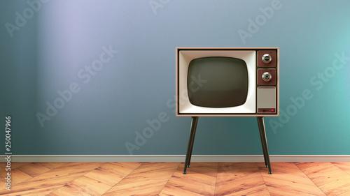 Carta da parati  Retro old tv on background 3D illustration
