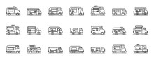 Food Truck Icons Set. Outline ...