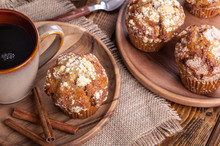 French Toast Muffin With Cinnamon Sticks And Cup Of Coffee