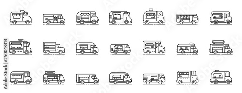 Food truck icons set Fototapet