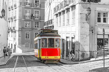 Lisbon, Portugal.Red retro streetcar in the streets in Lisbon