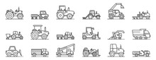 Agricultural Machines Icons Set. Outline Set Of Agricultural Machines Vector Icons For Web Design Isolated On White Background