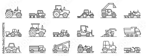 Fototapeta Agricultural machines icons set. Outline set of agricultural machines vector icons for web design isolated on white background obraz