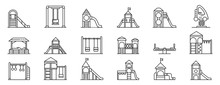 Kid Playground Icons Set. Outline Set Of Kid Playground Vector Icons For Web Design Isolated On White Background