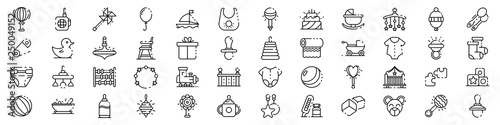 Baby items icons set. Outline set of baby items vector icons for web design isolated on white background