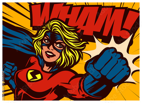 Pop art comic book style super heroine punching with female superhero costume poster design wall decoration illustration