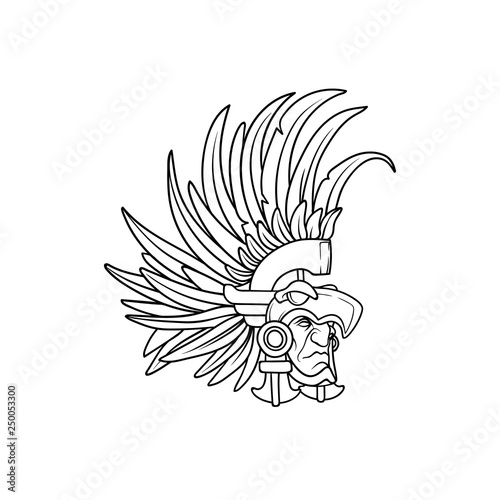 Photo Amazing outline of the aztec elite warrior wearing an eagle helmet with long fea
