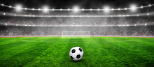 Soccer Ball On Stadium With Illumination