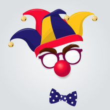 Jester Hat With Clown Glasses And Red Nose