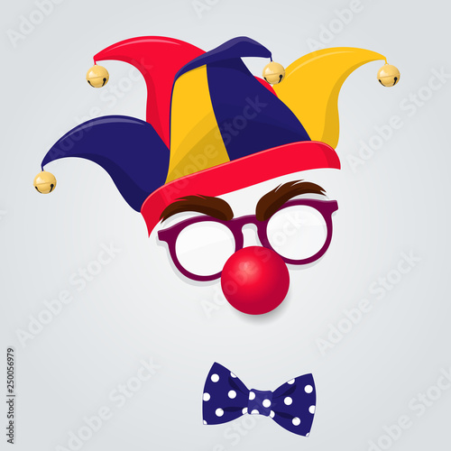 Jester hat with clown glasses and red nose Fototapet