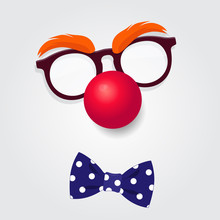 Clown Glasses, Red Nose And B...