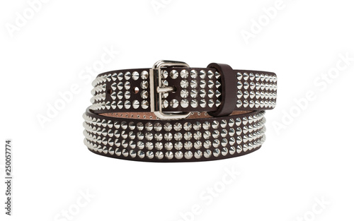 Valokuva Brown leather belt with silver rivets on white background