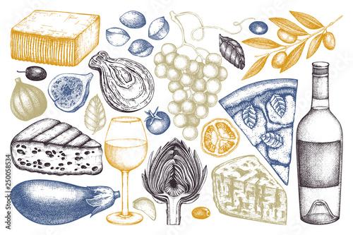 Obraz na plátne Mediterranean food and drinks sketches