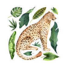 Watercolor Vector Card With Leopard And Green Tropical Leaves Isolated On White Background.