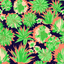 Colorful Modern Tropical Design Of A Lush Succulent Garden In Bright Coral And Greens On A Navy Blue Background.