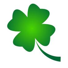 Shamrock - Green Gradient Four Leaf Clover Icon. Good Luck Theme Design Element. Simple Geometrical Shape Vector Illustration