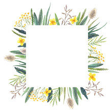Watercolor Floral Frame Of Wild Flowers