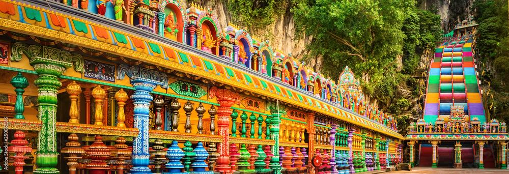Fototapeta Colorful stairs of Batu caves, Malaysia. Panorama