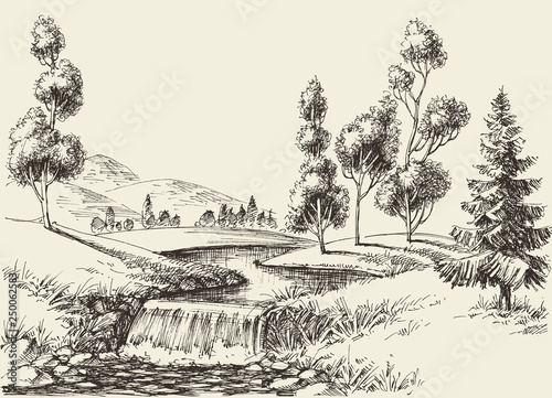 River flow landscape. Hand drawn nature background Tapéta, Fotótapéta