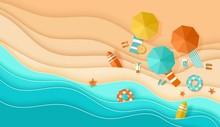 Beach Background Sea Waves Sand Umbrella Umbrella Deck Chair Papercut Paper