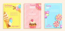 Set Of Sweet, Candy, Bakery, Ice Cream Shops Flyers.