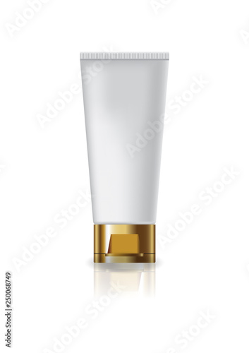Fotografie, Obraz  Blank white cosmetic tube with gold cap lid for beauty or healthy product