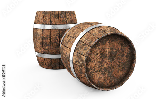Wooden barrel with iron hoops isolated on white background Poster Mural XXL