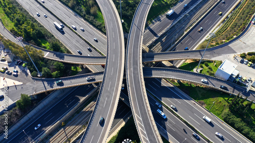 Carta da parati Aerial drone photo of highway multilevel junction interchange crossing road