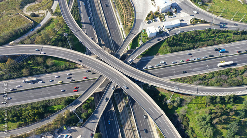 Fotomural  Aerial drone photo of highway multilevel junction interchange crossing road