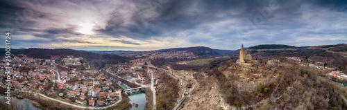 Aerial panoramic View of Tsarevets fortress over Veliko Tarnovo in Bulgaria - Im Fototapete