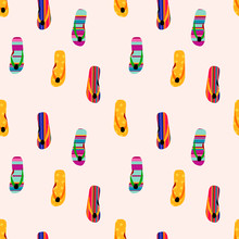 Flip Flop Print Pattern. Seamless Pattern With Cute Colorful Sandals.