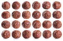 Chocolate Corn Balls Isolated On White Background.