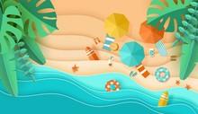 Beach Background Sea Waves Sand Tropical Leaves Umbrella Deck Chair Papercut Paper