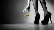 Beautiful Girl Legs And A Glas...