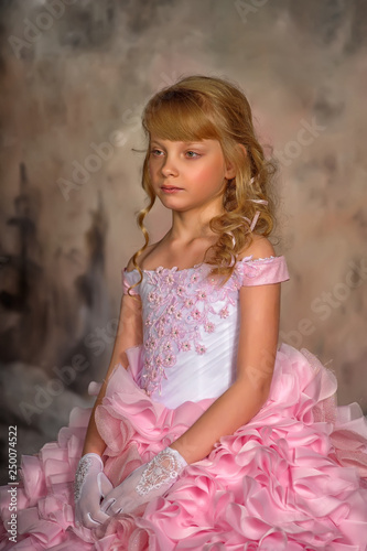 Fotografia, Obraz  Portrait of adorable smiling little girl in princess dress