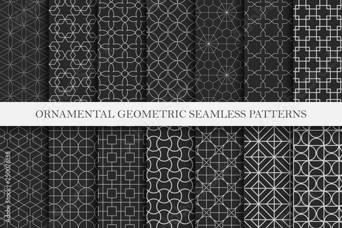 Collection of ornamental repeatable vector patterns. Geometric oriental backgrounds.