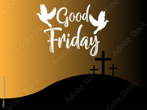 Obraz Good Friday & Easter day. Vector illustration of Jesus Christ's crucifixion and Resurrection. - fototapety do salonu