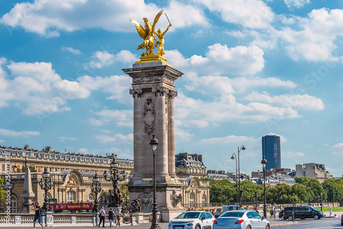 08/22/2018: Paris, France/Alexandre III bridge on sunny summer day Canvas-taulu
