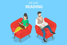 Isometric Flat Vector Concept Of Reading, Favorite Book, Education.