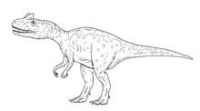 Drawing Of Predatory Dinosaur - Hand Sketch Of Allosaurus, Black And White Illustration