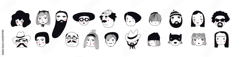 Fototapety, obrazy: Hand drawn doodle set of people faces. Perfect for social media, avatars. Portraits of various men and women. Trendy black and white icons collection. Vector illustration. All elements are isolated
