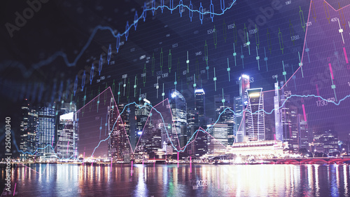 Fotografie, Obraz  Trading graph on the cityscape at night background