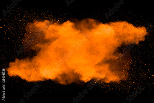 Abstract Art Orange Powder On Black Background Kaufen Sie