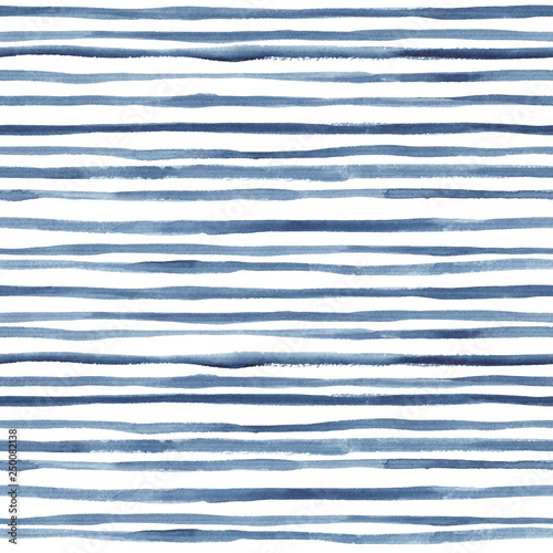 Hand painted indigo lines. Seamless watercolor pattern Wallpaper Mural