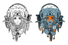 Native American Girl With Wolf Headdress And Feathers Coloring Vector Illustration. Isolated Image On White Background. Can Be Used For Creating Logo, Posters, Flyers, Emblem, Prints, Tattoo, Web