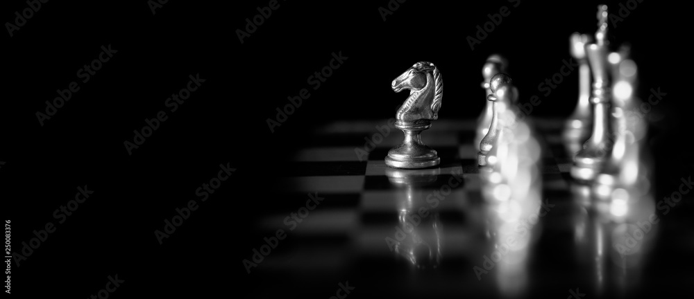 Fototapeta Pieces on chess board for playing game and strategy