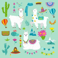 Set Of Cute Alpacas And Hand Drawn Elements. Llamas And Cacti Vector Illustration. Summer Design Elements For Greeting Cards, Baby Shower, Invitation, Posters Etc.