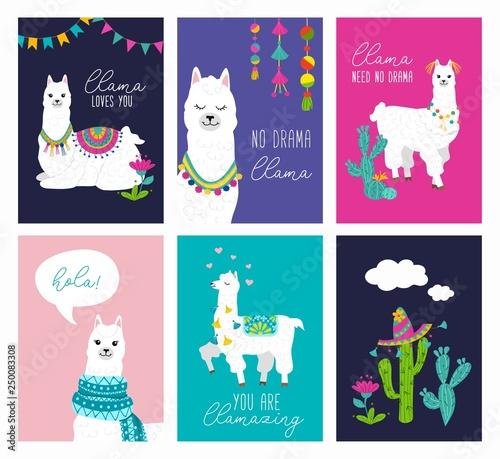 Canvas Print Set of cute card with alpacas