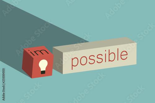 Fotografía  Minimalist retro style. Impossible Is Possible Concept